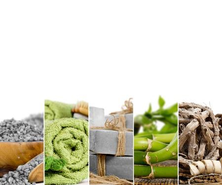 Foto de listras abstratas da mistura com toalhas, junco e sal; cores verde e cinza; conceito de spa e bem-estar; espaço em branco para texto