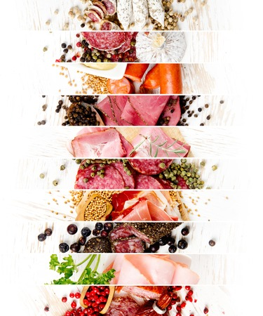 Top view of ham and salami mix with herbs and pepper spice on wooden boards; white space for text
