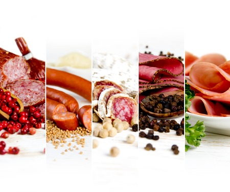 Photo of ham and salami mix with herbs and pepper spice on wooden boards; white space for text