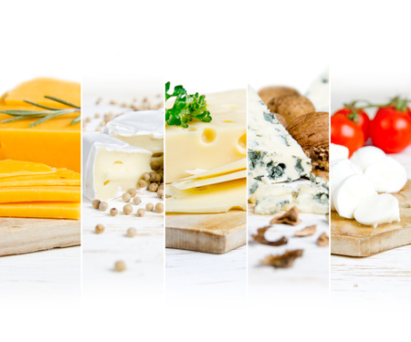 Photo of various kinds of cheese abstract mix with spice and herbs on wooden boards; white space for text