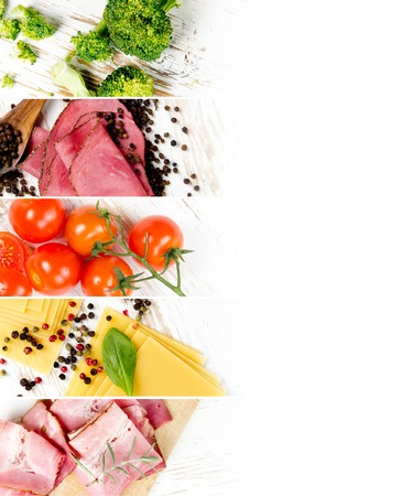 Top view of ham, pasta, cheese and vegetable on wooden boards; healthy eating concept; white space for text