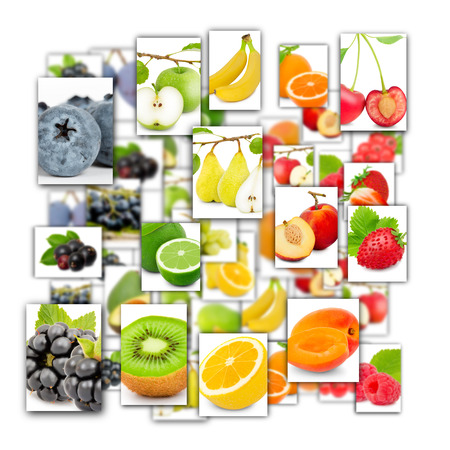 Photo of rainbow colorful abstract mix rectangles in a square shape with fruit and slices isolated on white background