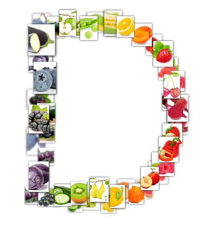 Photo of rainbow colorful abstract mix rectangles in a letter A shape with fruit and vegetable isolated on white background Stockfoto