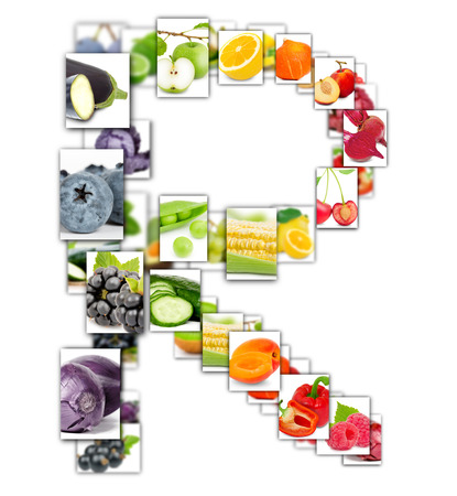 Photo of rainbow colorful abstract mix rectangles in a letter A shape with fruit and vegetable isolated on white background Stock Photo
