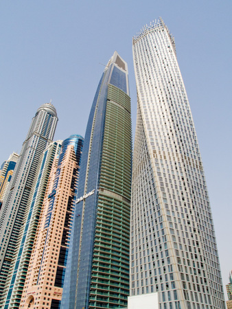 Panoramic view of Dubai Marina skyscrapers Stock Photo