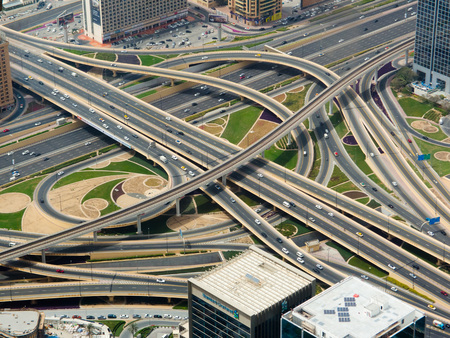 Aerial view of highway interchange in a city Stock Photo