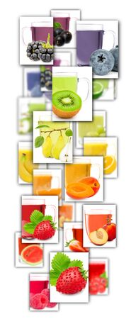 Photo of rainbow colorful abstract mix rectangles with fruit, slices and cups of tea isolated on white Stock Photo