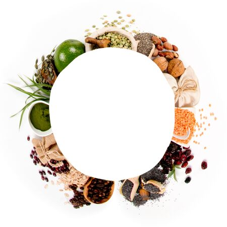 Photo of superfood mix with white circle space for text; concept of healthy eating