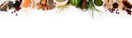 Horizontal conposition of superfood mix with white space for text; concept of healthy eating