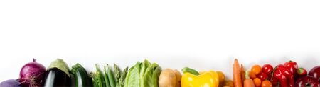 Photo of colorful vegetable mix with white circle space for text Stock Photo