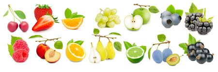 Collection of fruits with slices in rainbow colors, healthy food and drink concept; isolated on white