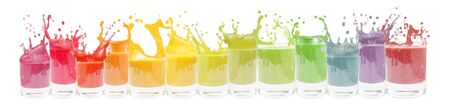 Collection of glass with liquid and splash in rainbow colors. Isolated on white background.
