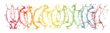Collection of multicolor splash in rainbow colors. Isolated on white background. Stock Photo