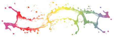 Large horizontal splashin rainbow colors. Isolated on white background.