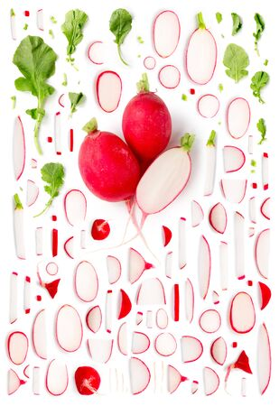 Large group of radish pieces, slices and leaves isolated on white background. Seamless abstract pattern. Vertical composition. Stock Photo