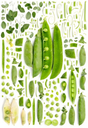 Large collection of peas and pods vegetable pieces, slices and leaves isolated on white background. Top view. Seamless abstract pattern. Stock Photo