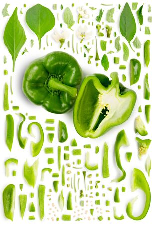 Large collection of green pepper vegetable pieces, slices and leaves isolated on white background. Top view. Seamless abstract pattern. 免版税图像