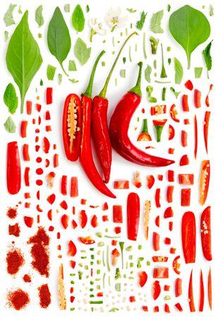 Large collection of chili pepper vegetable pieces, slices and leaves isolated on white background. Top view. Seamless abstract pattern.