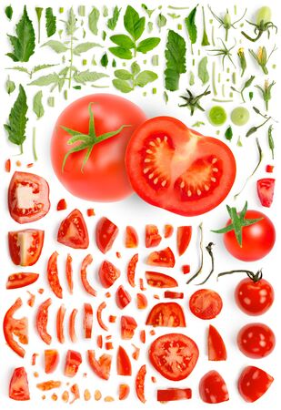 Large collection of red tomato vegetable pieces, slices and leaves isolated on white background. Top view. Seamless abstract pattern.