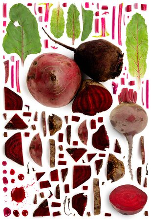 Large collection of beetroot vegetable pieces, slices and leaves isolated on white background. Top view. Seamless abstract pattern.