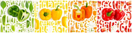 Large collection of colorful pepper vegetable pieces, slices and leaves isolated on white background. Top view. Seamless abstract pattern.