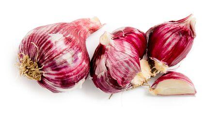 Garlic group isolated on white background.