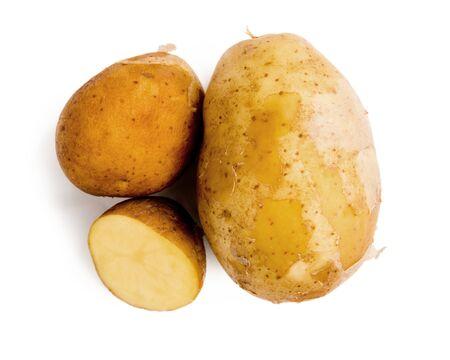 Potato group isolated on white background.