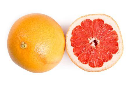 Grapefruit group with slice isolated on white background.