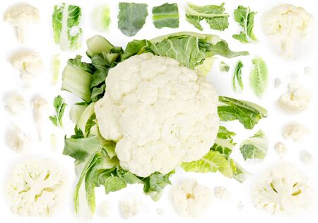 Large group of cauliflower pieces isolated on white background. Seamless abstract pattern. Reklamní fotografie
