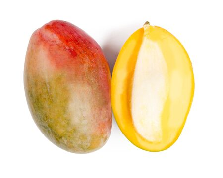 Mango group with slice isolated on white background.