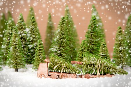 Truck transporting a tree in a forest covered with snow. Christmas concept.