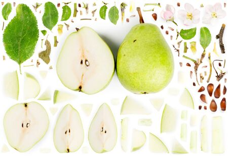 Large collection of green pear fruit pieces, slices and leaves isolated on white background. Top view. Seamless abstract pattern.