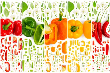 Collection of colorful pepper vegetable pieces, slices and leaves isolated on white background.