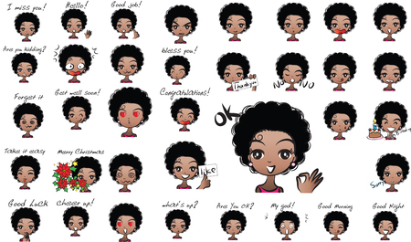 African girl face expression collection.
