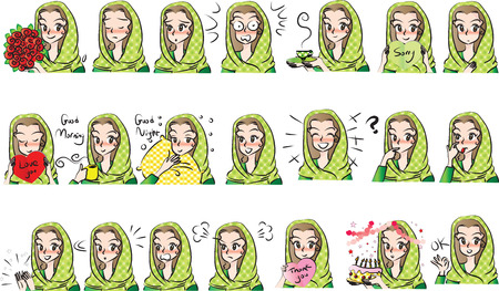 Hooded girl in different expression or mood illustration.