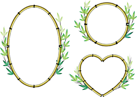 Bamboo border set in oval, circle and heart shape. Stock Illustratie