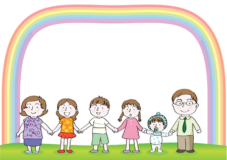 Family with rainbow border