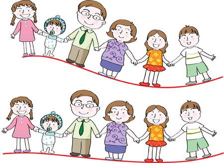 Family pattern design illustration