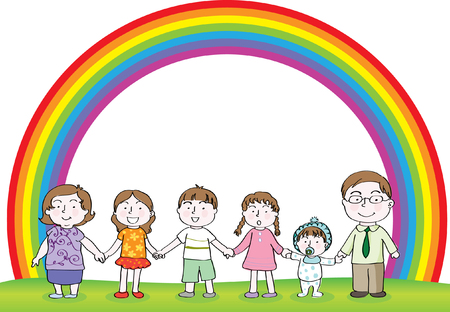 A family with rainbow background Illustration