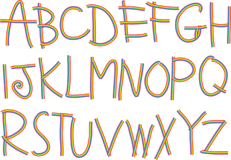 Vector drawing uppercase letter a to z design illustration.