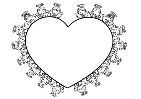 Angel design collection border in heart shape illustration on white background.