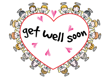 Angel design collection border in heart shape with get well soon text.