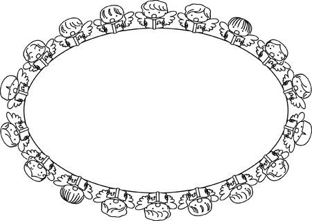 Angel design collection border in oval shape illustration.