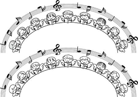 Angel singing design collection border illustration on white background Çizim