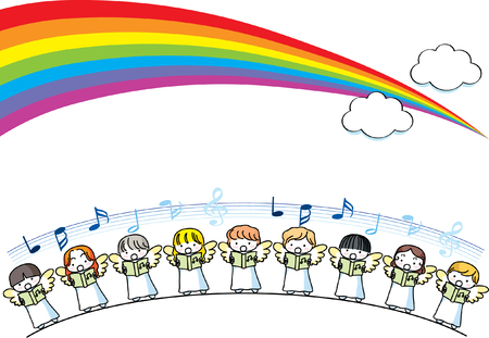 Angel singing design collection border with rainbow illustration. 向量圖像