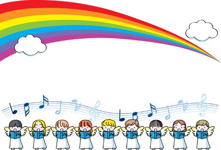 Angel singing design collection border with rainbow illustration. Çizim