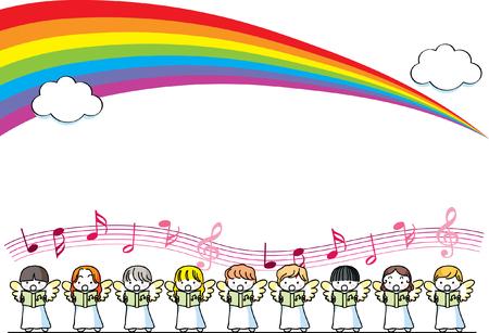 Angel singing design collection border with rainbow illustration. 矢量图像