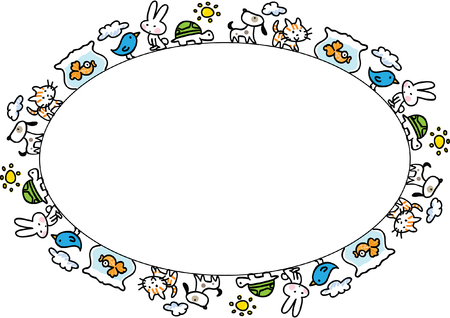 Pets oval border design