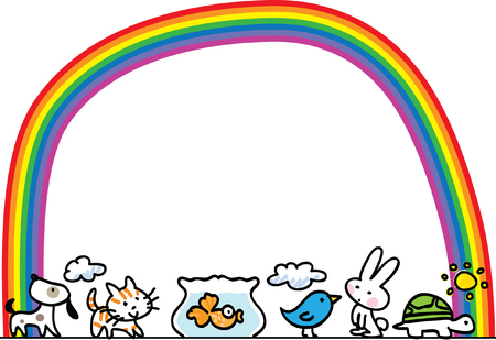 Pets with rainbow border design