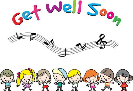 Get well soon banner. Vettoriali